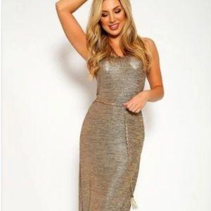 Dresses & Skirts - Beige Shimmer Maxi Dress